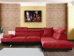Canapé D Angle Xl : canap d 39 angle xl en tissu romain bicolore rouge et noir ~ Teatrodelosmanantiales.com Idées de Décoration