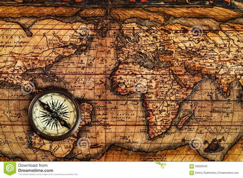 vintage compass  ancient map stock photo image