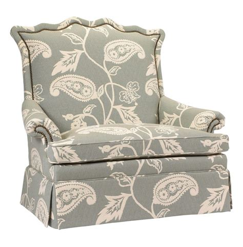 Paisley Settee by Beziers Country Green Paisley Upholstered Skirted