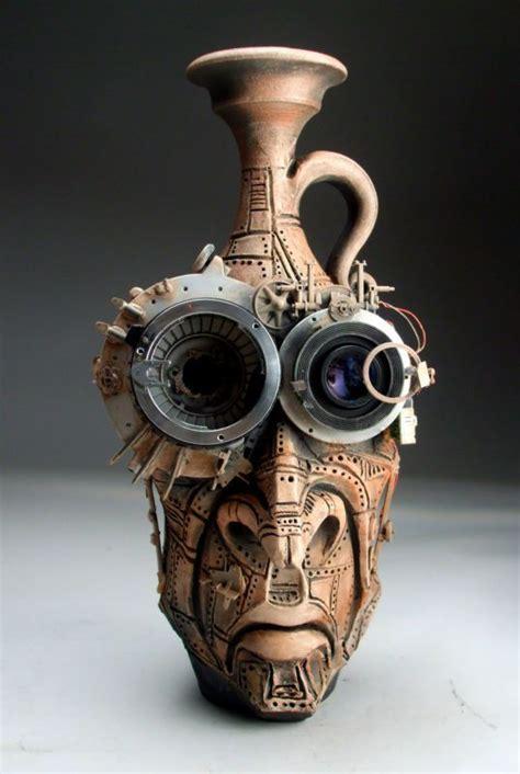 steampunk face jug folk steampunk pottery