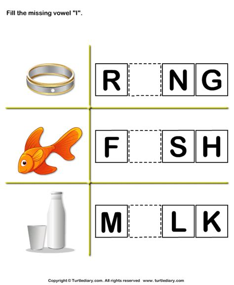 complete words  filling  missing vowel  worksheet