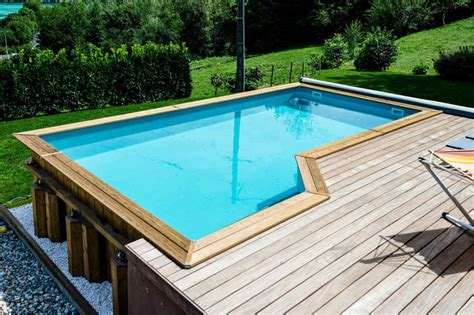 piscine semie enterree en bois galerie photos piscines bois bluewood