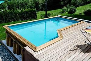 galerie photos piscines bois bluewood With superb terrasse piscine semi enterree 1 les piscines en bois en photo