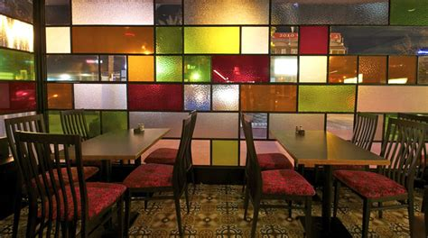 restaurant decor  colored glass windows interiorzine