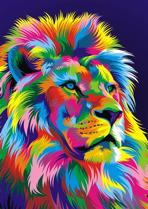 lion digital vector fullcolor  weercolor cats large