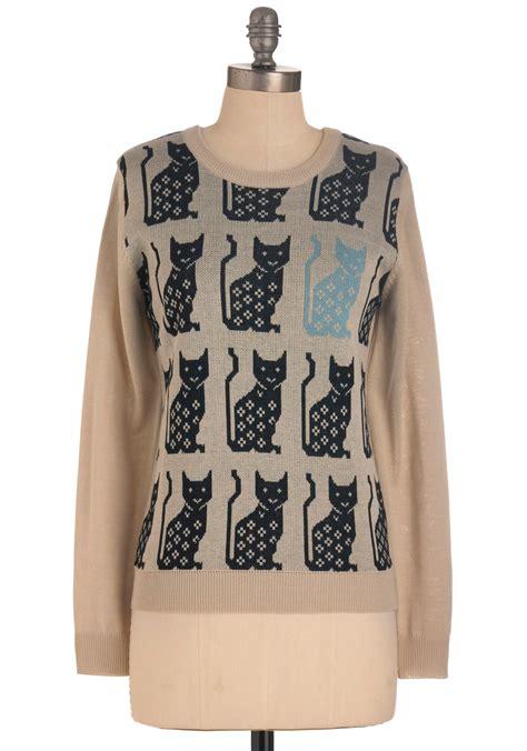cat sweaters blues cat sweater mod retro vintage sweaters modcloth com