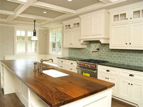 White Cabs, Green Tile, Wood Countertops And Granite