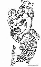 Coloring Merman Mermaid Mermaids Printable Medieval Fantasy Sheets Template H2o Found Templates sketch template