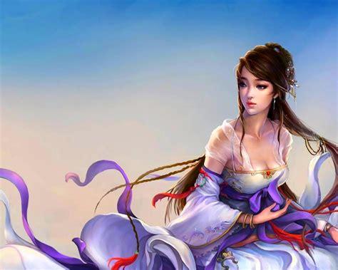 princess china girl   cg abstract background