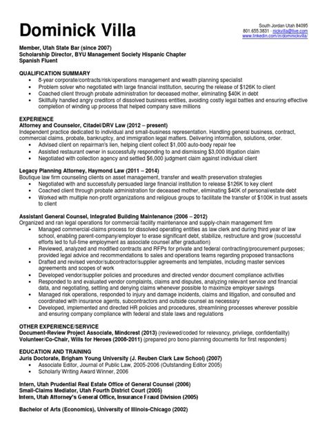 General Counsel Resume Summary by Associate General Counsel In Salt Lake City Ut Resume