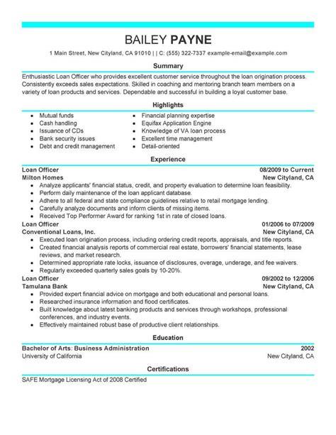 Loan Officer Resume by Loan Officer Resume Exle Bijeefopijburg Nl