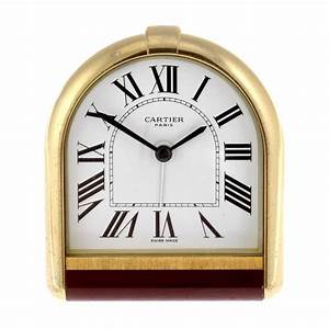 A, Gold, Plated, Quartz, Cartier, Desk, Clock