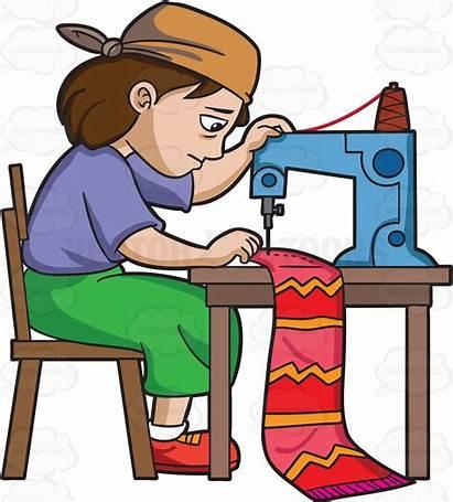 Factory Clipart Sweatshop Worker Cartoon Sewing Sew