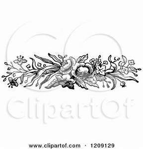 Clipart of a Vintage Black and White Flower Border ...