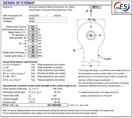 Eyebar Design  Mec Engineering Spreadsheets