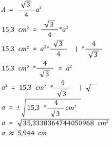 Flächeninhalt Quadrat Seitenlänge Berechnen : gleichseitiges dreieck seiten mit hilfe des fl cheninhaltes berechnen mathelounge ~ Themetempest.com Abrechnung