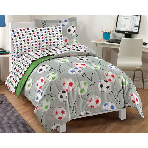 soccer balls twin bedding set 5pc comforter sheets