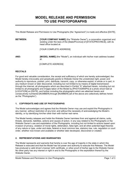 model release  permission   photographs template