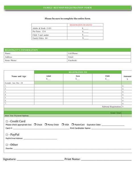 family reunion registration form in word and pdf formats