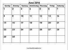 June 2014 Calendar Printable Blank Printable Calendar