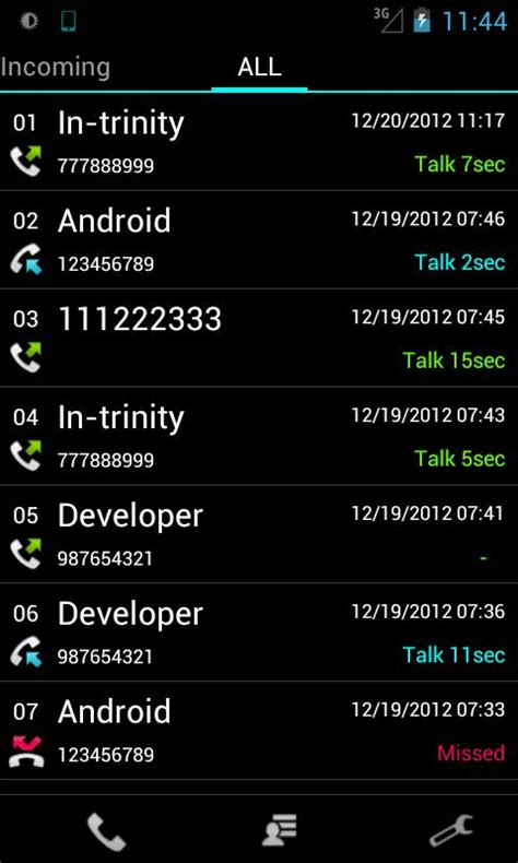 call my android slide call log free android apps on play