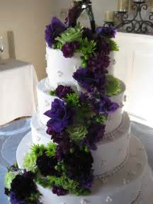 Green and Purple Wedding Cake with Flowers