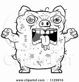 Pig Ugly Clipart Outlined Angry Cartoon Thoman Cory Vector Coloring Mean Royalty sketch template