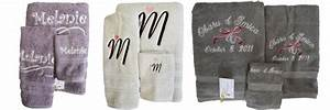 Embroidered and personalized bath towel sets for Embroidered towels for wedding gift