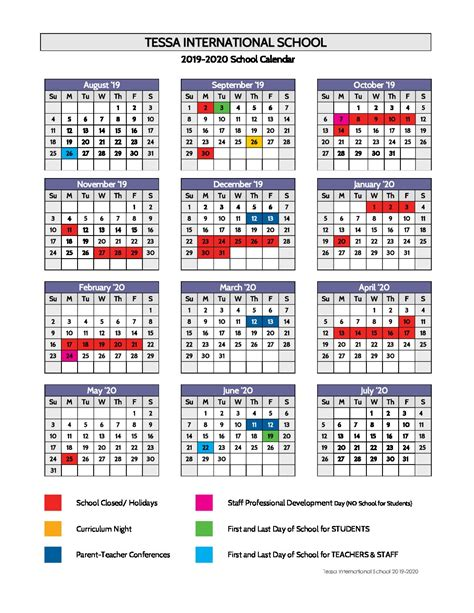 calendar tessa international school