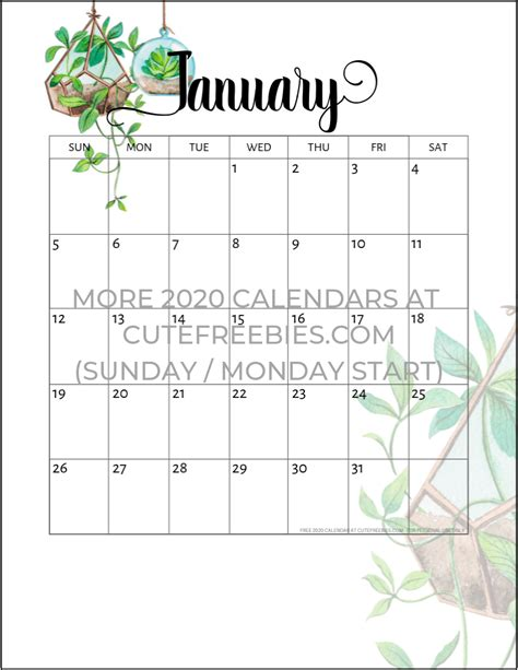 january  calendar printable plants cute freebies