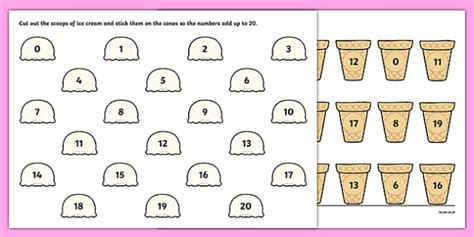 cone template twinkl ice cream number bonds to 20 worksheet worksheet ice