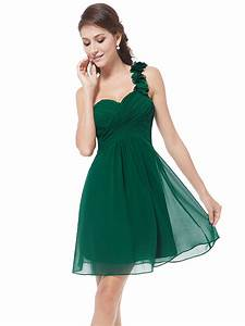 chiffon one shoulder short green bridesmaid dresses under With short green wedding dresses