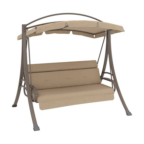 outdoor swing with canopy shop corliving nantucket warm grey porch swing with arched canopy at lowes com