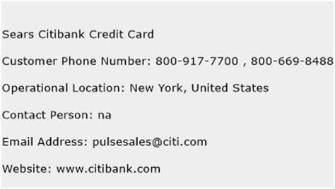 phone number for sears sears citibank credit card customer service phone number