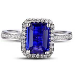 blue sapphire halo engagement rings antique 1 50 carat emerald cut blue sapphire and halo engagement ring in white gold
