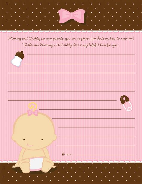 baby girl caucasian baby shower notes  advice