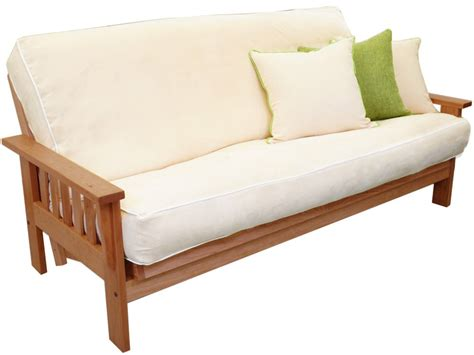 wood futon frame cornerstone wood amish flat arm mission futon frame cherry