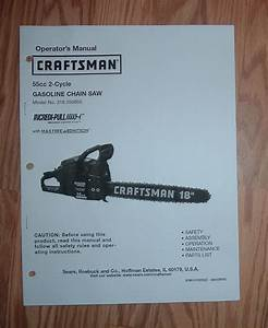 Craftsman 316 350850 Chain Saw Owners Manual With