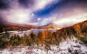 Forest, Lake, Fall, Nature, Snow, Trees, Clouds, Landscape