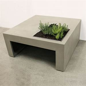 concrete coffee table with built in planter box so that With concrete coffee table and end tables
