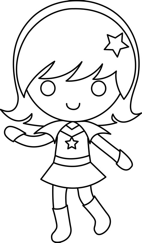 colorable space cadet girl  clip art