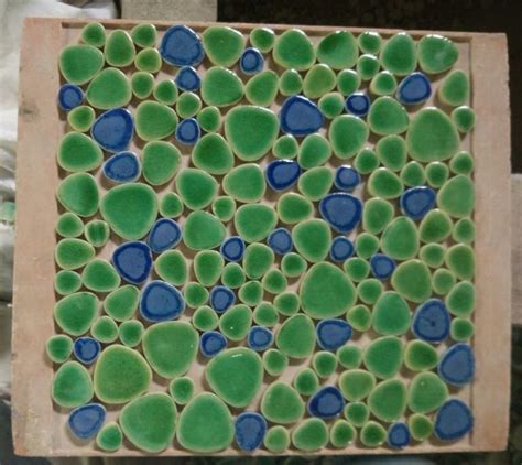 blue mixed green color ceramic pebble mosaic tiles for