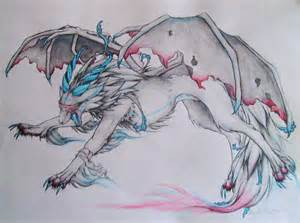 Demon Wolves with Wings Drawing