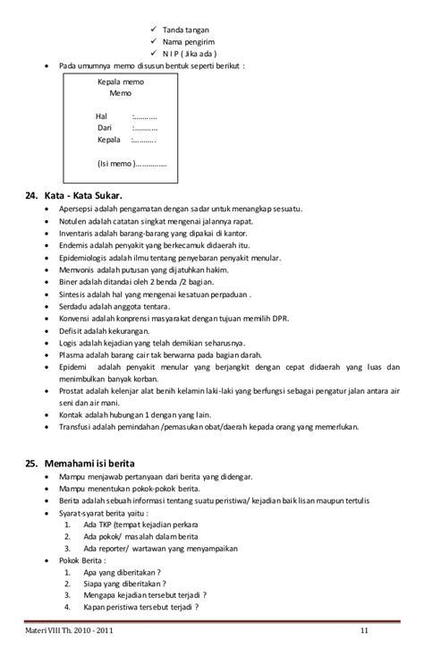materi bahasa indonesia kelas viii isi