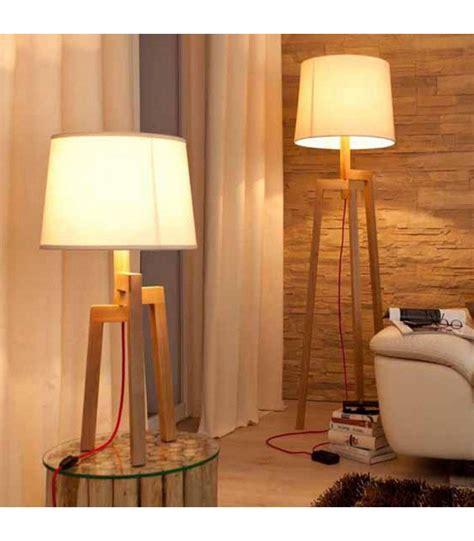 ladaire design tr 233 pied en bois et abat jour beige