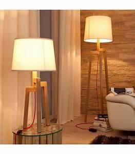 Lampe Bois Design : lampadaire design tr pied en bois et abat jour beige nature ~ Teatrodelosmanantiales.com Idées de Décoration