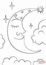 Coloring Moon Pages Crescent Cartoon Printable Simple Stars Natural Print Drawing Dot Paper sketch template