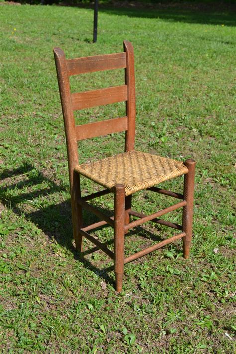 vintage antique ladder back wooden chair woven by panchosporch