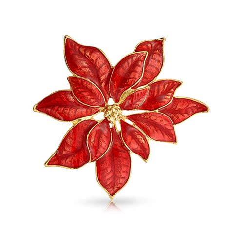 Gold Plated Red Enamel Poinsettia Flower Christmas Brooch Pin