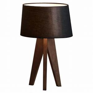 buy tesco tripod table lamp walnut black shade from our With tesco tripod wooden floor lamp dark wood black shade